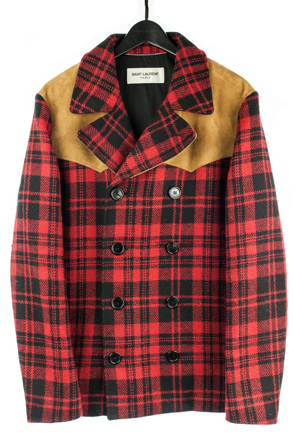 FW14 Western Plaid Wool and Calf Suede Jacket