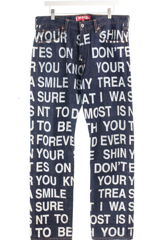 01 All Over Poem Denim Pants