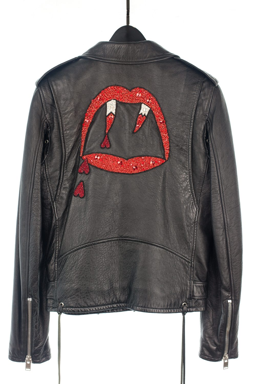SS17 Bloodluster Beaded Crystal Leather Jacket