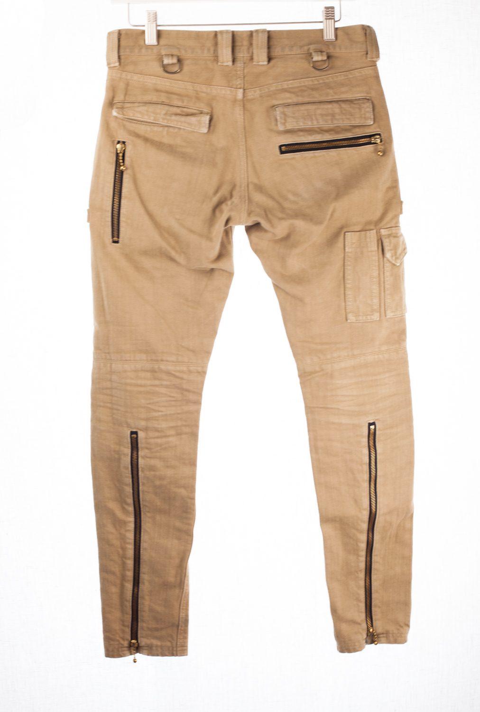 SS12 Tan Denim Biker/Moto Pants