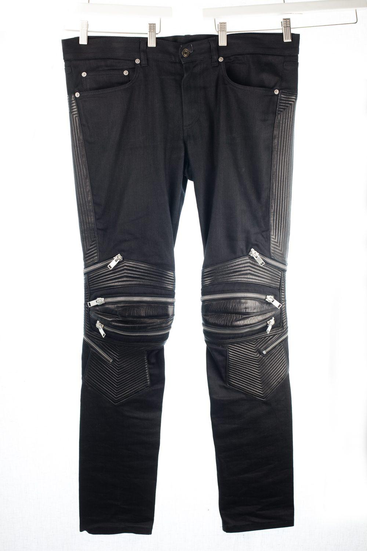 Leather Zip Biker Denim