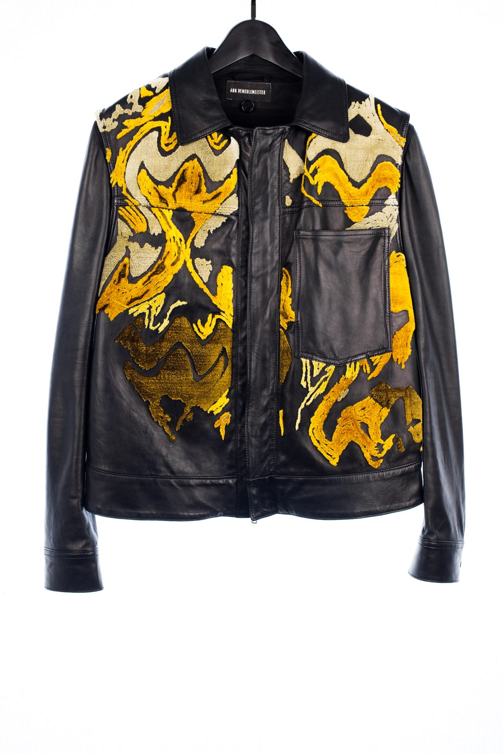FW16 Abstract Appliquéd Leather Jacket