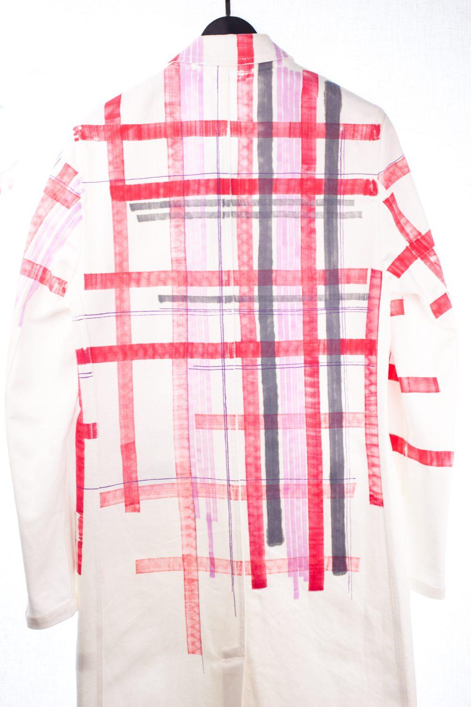 White Fragmented Plaid Coat