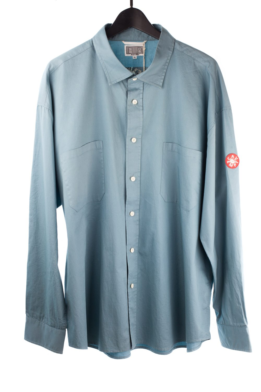 Double Pocket Cyan Button Up