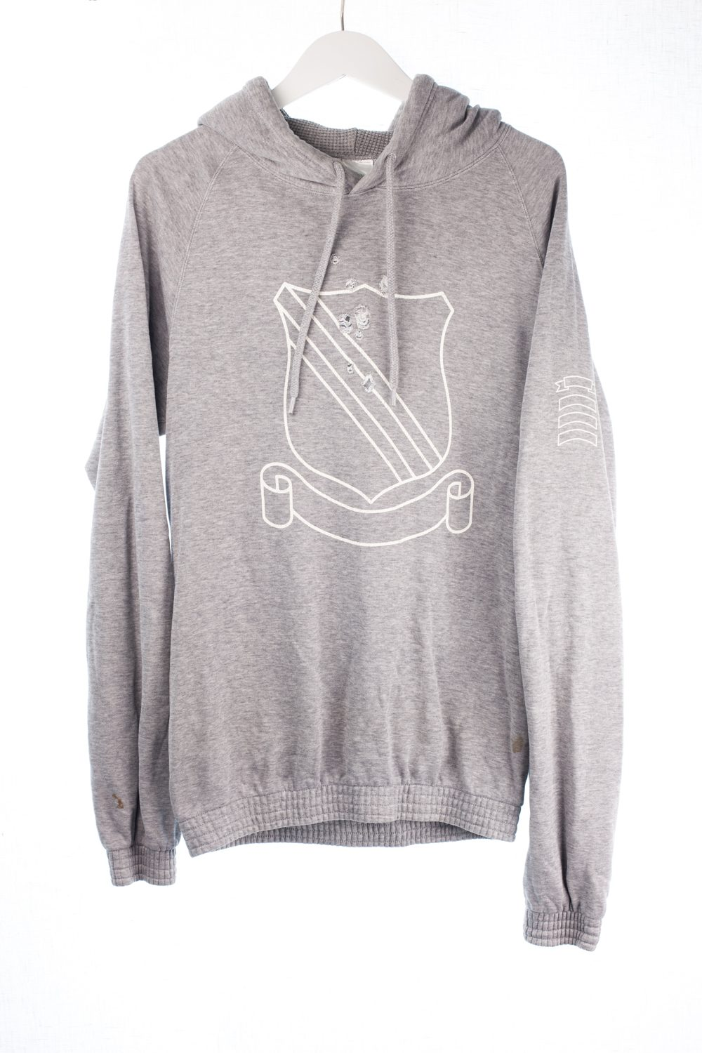 White Label Distressed Shield Hoodie