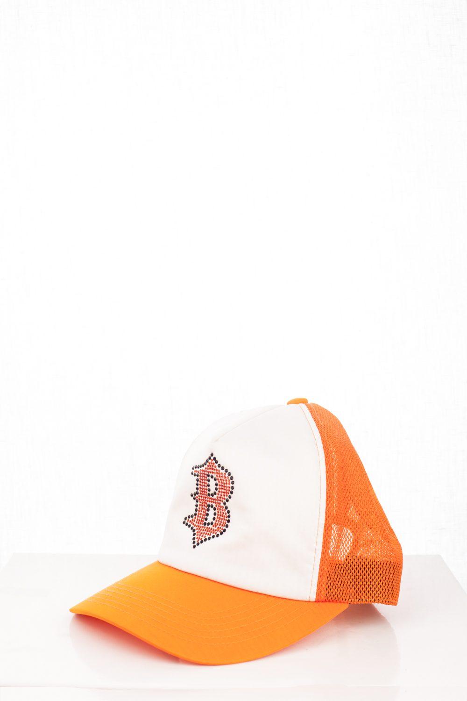 """06 """"B"""" Orange Swarovski Trucker Hat"""