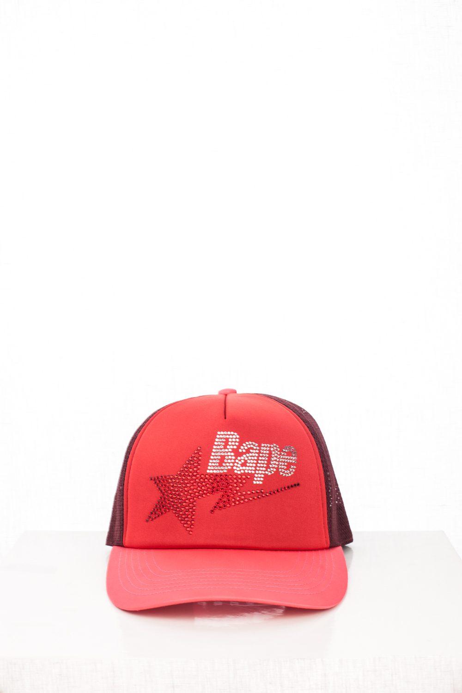 "06 ""Bapesta"" Red Swarovski Trucker Hat"