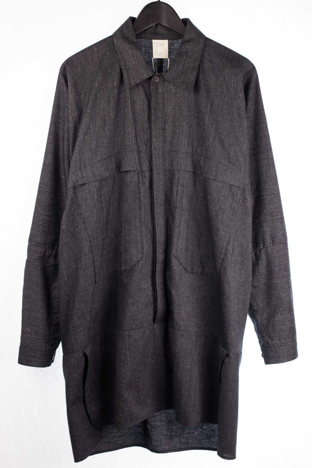 """Look #37 """"Morion"""" Striped Long Pullover Button Up"""