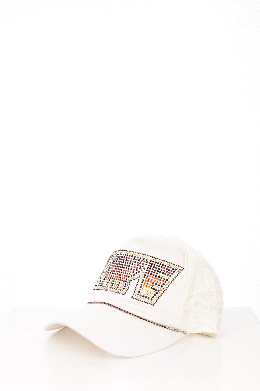 """06 """"KISS"""" White Swarovski Trucker Hat"""
