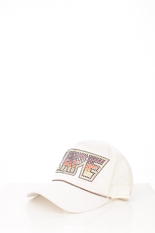 """2946856fe35b5 06 """"KISS"""" White Swarovski Trucker Hat"""