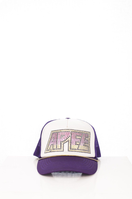 "06 Purple ""APEE"" Swarovski Trucker Hat"