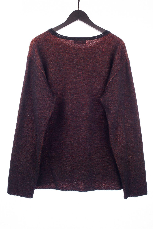 Black Melange LongSleeve Knit Floral Pullover