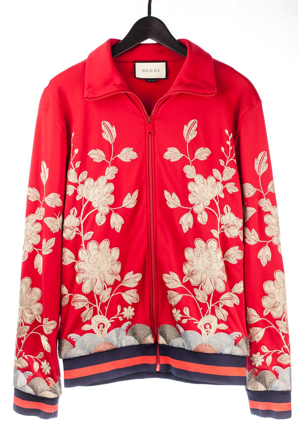Metallic Floral Embroidery Track Jacket