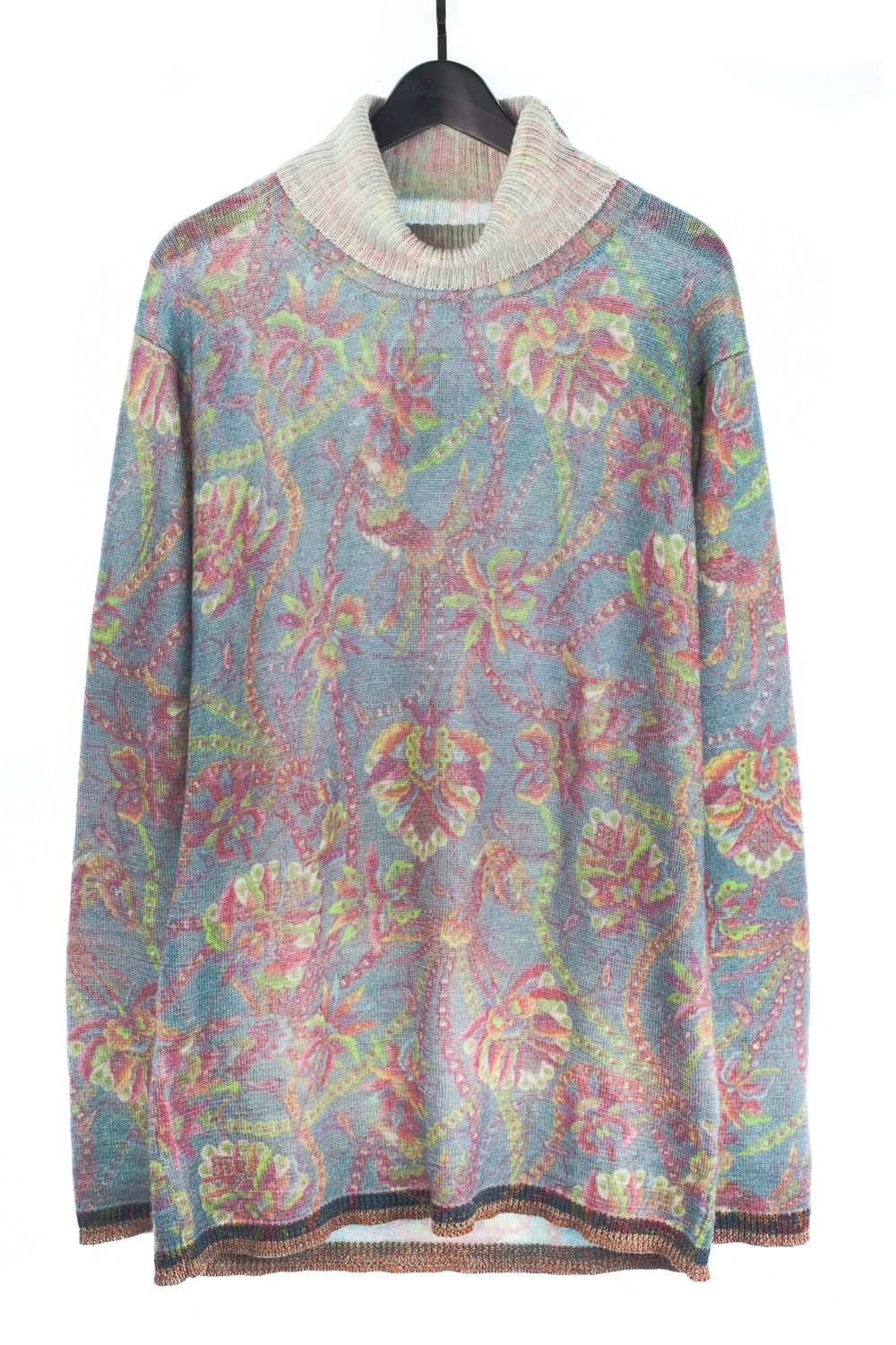 Psychedelic Floral Wool Turtleneck